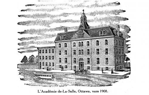 Dessin en noir et blanc d'un édifice en pierre de quatre étages, orné d'une élégante façade classique et d'un toit évasé, coiffé par une lanterne.