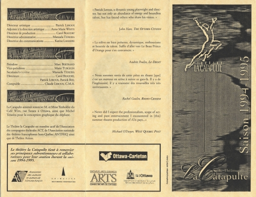 French leaflet printed in black on pale pink paper. The content is divided into three sections. A person jumping into the air appears on the cover page. The section headings are illustrated. One section is dedicated to the logos of the sponsoring organizations.