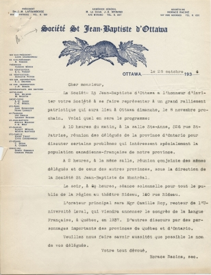 French letter typed in blue ink, on Société Saint-Jean-Baptiste letterhead, signed by the Secretary of the Society. The heading features the organization's logo, and the left-hand side of the page lists board members and section representatives.