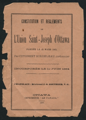 Text printed in French. On the cover page, in diverse script of varying sizes, the title of the document, the place and date of publication, and other information about the organization. Page 2 shows a drawing of St. Joseph. The text on pages 11 and 12 is printed in a single column, one article at a time, each with a title in capital letters. The pages of the document are damaged.
