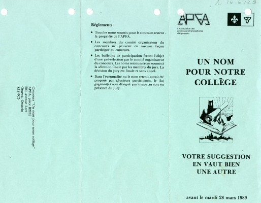 French brochure printed recto-verso in black on 8 ½ x 11 green paper, folded into three panels. On the first page, under the logo of the organization and the Franco-Ontarian flag, one panel mentions the goal and the closing date of the contest. A second panel outlines the rules of the contest, and the last panel includes the return address. On the other side of the page, one panel explains the history of the competition, while the other two provide additional information and the entry form.