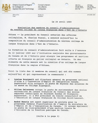 Three-page news release typewritten in French on bilingual letterhead of the Office of the Chair, Conseil ontarien des affaires collégiales. The pages are duly paginated. The date and title are followed by three short paragraphs listing names in alphabetical order. The news release devotes a short paragraph to describing each board member. The number 30, between dashes, is centreed at the end of the text. Contact details for more information are listed on the last page.