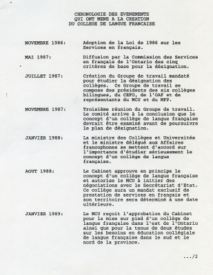 Text typewritten in French, arranged in two columns. Ten dates, November 1986 to April 1989, are listed in the left column, accompanied by a description of the events in the right column. The title of the document and the dates appear in capital letters. Page numbers are included at the top of the page, centreed. A call number is typed at the bottom of page 2.