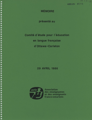Mémoire dactylographié, en français. La page couverture est imprimée en noir sur fond vert ; le logo de l'organisme apparaît au bas de la page. Une cote a été ajoutée à la main. Le document est imprimé sur du papier blanc. Il porte les traces d'une reliure spirale.