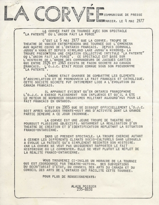 Printed news release, in French. The name of the organization appears in large characters at the top of the page. The body of the text is inserted into a rectangular frame, and is written entirely in uppercase letters. The name and telephone number of the contact person are listed at the bottom of the page.