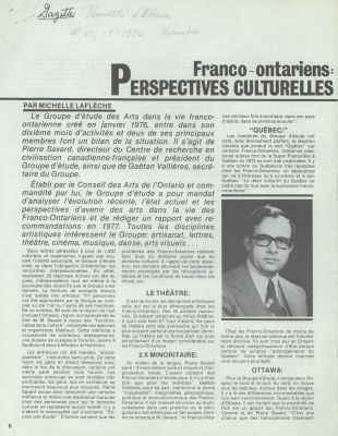 Article printed in French. The text is arranged in three columns, with sections marked with bold subtitles under a full-width title, followed by the author's name and an introduction in larger characters. A black and white photo of a young man wearing glasses,suit and tie is inserted into the text on the front page.