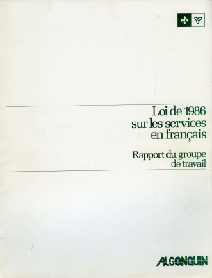 Report typewritten in French. The cover shows the title of the document printed in green, on a white background, as well as a logo and a Franco-Ontarian flag. The report begins with a preamble. The text of the report is arranged in a single column divided into multiple paragraphs. The recommendation for a 23rd college is highlighted clearly in the middle of the page.