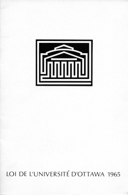 Document printed in French. The cover page features the University of Ottawa logo. The text of the articles follows, accompanied by summaries of the articles in the margin.