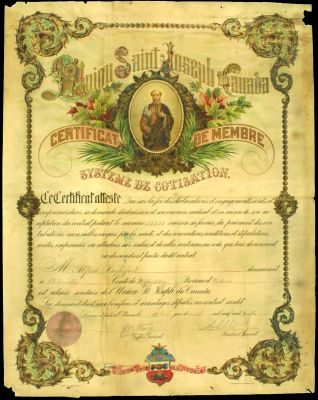 French document printed in colour. Featuring a drawing of St. Joseph, surrounded by the stylized name of the organization. The text, interspersed with handwritten entries, appears in a stylish, popular typeface. The certificate is signed by two officials. Coat of arms is integrated into the certificate border at the bottom of the page.