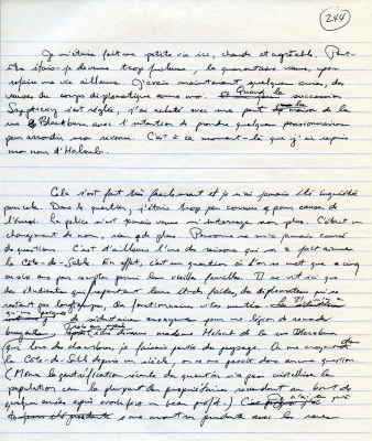 Texte manuscrit en français à l'encre noire sur papier ligné. Des corrections, ainsi que le numéro de page ont aussi été inscrits à la main en noir.