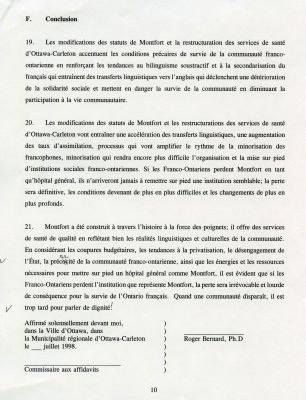 "Document printed in French, bearing the heading ""F. Conclusion"" at the top. The text is arranged in a single column and divided into paragraphs numbered from 19 to 21. The author's name and the date appear after the text, in the last page of the document (p. 10)."