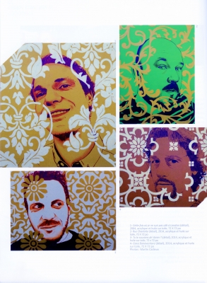 Four-page French article, illustrated with colour photos of works of art. Different patterns and colour processes superimposed on photographs of middle-aged men, or on a plain background. One piece integrates a man hiding his face behind multicoloured lines. The text is arranged in two columns.