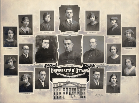 """Photograph of an arrangement of studio photographs of eleven women, four men, and two clerics, with their names. At the bottom centre, a photograph of an imposing, four-storey building with columns. A caption reads """"University of Ottawa, 1921-1924"""" (translated from the original)."""