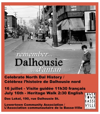 Colour poster, with a black and white photograph showing the intersection of two busy downtown streets. A little boy stands in front of a shop. The text of the poster is typed in English and French. The bottom of the poster is red, with the logo of the sponsoring organization.