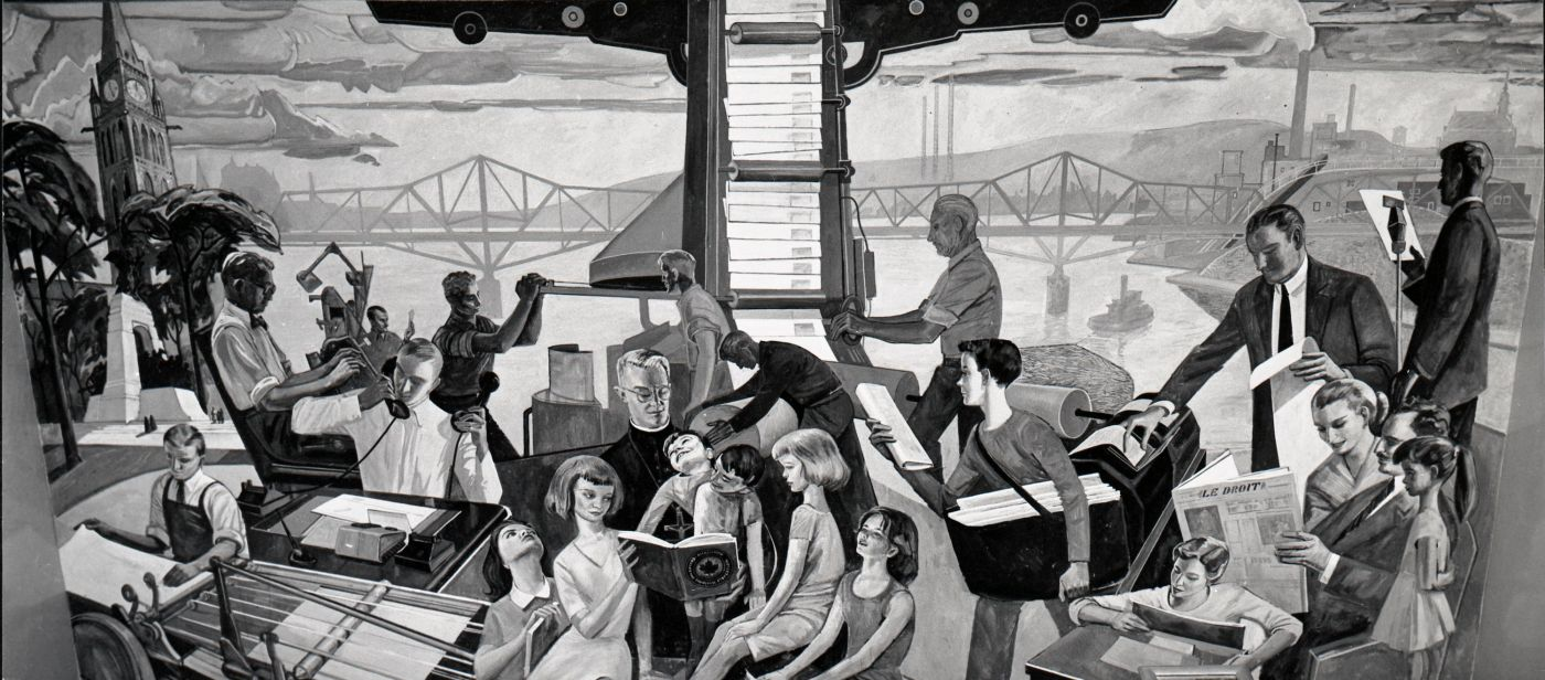 Tableau en noir et blanc, représentant une galerie de personnages vaquant à diverses occupations. Parmi eux, on reconnaît le père Charles Charlebois. À l'arrière-plan, le pont Alexandra et la rivière des Outaouais. Sur une des rives, les édifices du Parlement, sur l'autre, le centre-ville de Hull et son paysage industriel.