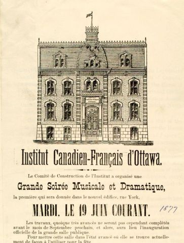 Poster printed in French. It features a black and white drawing of a building, as well as text  inviting people to attend the featured event.