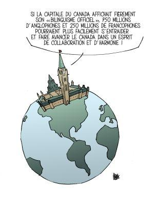 Colour drawing with text printed in French. The image depicts a terrestrial globe and continents without borders. Canada's Parliament buildings are positioned in the northern portion of the Americas. A text bubble is connected to the buildings.