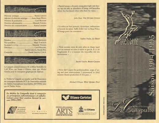Dépliant imprimé en noir sur papier rose pâle, en français, divisé en trois parties. Une personne sautant en l'air apparaît sur la page couverture. Les en-têtes des sections sont illustrés. Une section est dédiée aux logos des organismes de parrainage.