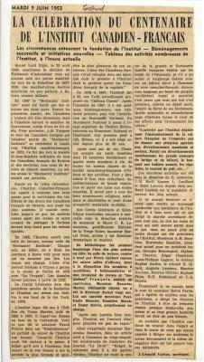 Article de journal imprimé. Le titre apparaît en lettres majuscules et en gras. Des sections du texte, disposé sur trois colonnes, sont en gras. L'article est signé.