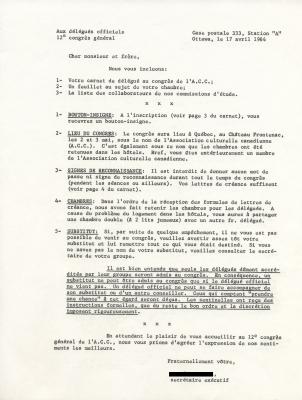 Texte dactylographié, en français. Le document présente une liste numérotée de consignes avec titres en majuscules et soulignés. Une section sur les substituts et les accompagnants est entièrement soulignée. La lettre est signée par le secrétaire exécutif de l'A.C.C.