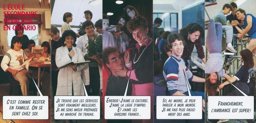 Dépliant promotionnel en couleur, en français. Une première photographie représente un adolescent entouré de sa famille, les quatre autres des jeunes en milieu scolaire. Des bulles de texte reproduisent les paroles des adolescents.