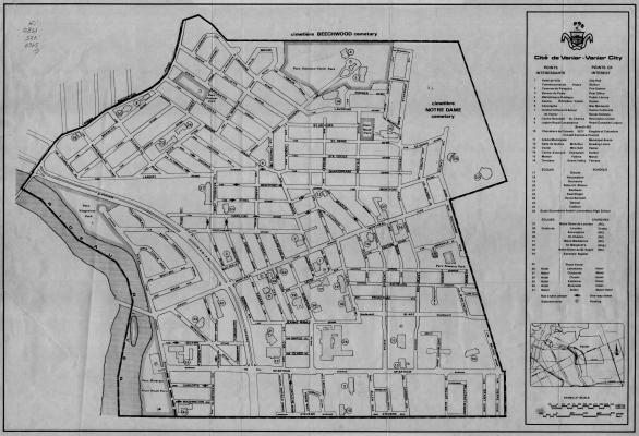 Plan des rues de la cité de Vanier avec titre, légende et points d'intérêt, dactylographiés en anglais et en français. Un encart inclut la liste des points d'intérêt, une carte de localisation de la ville dans l'espace régional, ainsi qu'une échelle en pieds et en mètres.