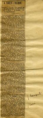 Tiré d'un spicilège, un article de journal, collé sur papier blanc. Le titre de la rubrique ainsi que le sujet de l'article figurent en haut du texte, qui est disposé sur une colonne et découpé en paragraphes. L'article est signé. Le journal ainsi que le papier sont jaunis.
