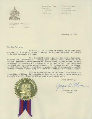 Texte dactylographié, en anglais, sur papier à en-tête du bureau du maire de la Ville d'Ottawa. Trois courts paragraphes, suivis d'une signature. Un sceau est apposé au bas de la lettre.
