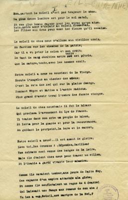 Poème dactylographié en français. Le titre du poème est écrit à la main, au crayon, en haut de la page 1. Neuf strophes comptent cinq lignes. Tampon du Centre de recherche en littérature canadienne-française de l'Université d'Ottawa, dans le coin inférieur droit. Le mot « fin » est inscrit au crayon au bas du texte à la page 2, sous la signature de l'auteur du poème.  Le papier est jauni.