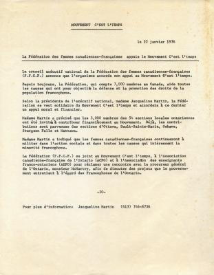 Texte dactylographié, en français. Le titre du communiqué, sa provenance et la date figurent en haut de la page. Le texte est disposé sur une seule colonne. Le « -30- », caractéristique des communiqués de presse, apparaît au bas du texte ainsi que le nom et le numéro de téléphone d'une personne-ressource.