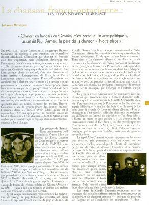 Article imprimé, en français. Le texte, disposé sur deux colonnes, est accompagné de quatre petites photographies sépia de groupes musicaux. Le titre de l'article, le nom de l'auteur et sa biographie apparaissent en orange.