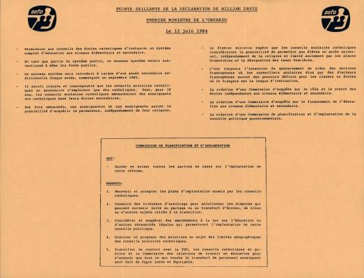 Document imprimé, en français sur papier orangé. La page 1 inclut deux logos de l'AEFO, le titre du document est en majuscules et souligné, deux colonnes de points saillants et une boîte de texte, sur le but et le mandat de la commission. La page 2 présente une série d'avis.