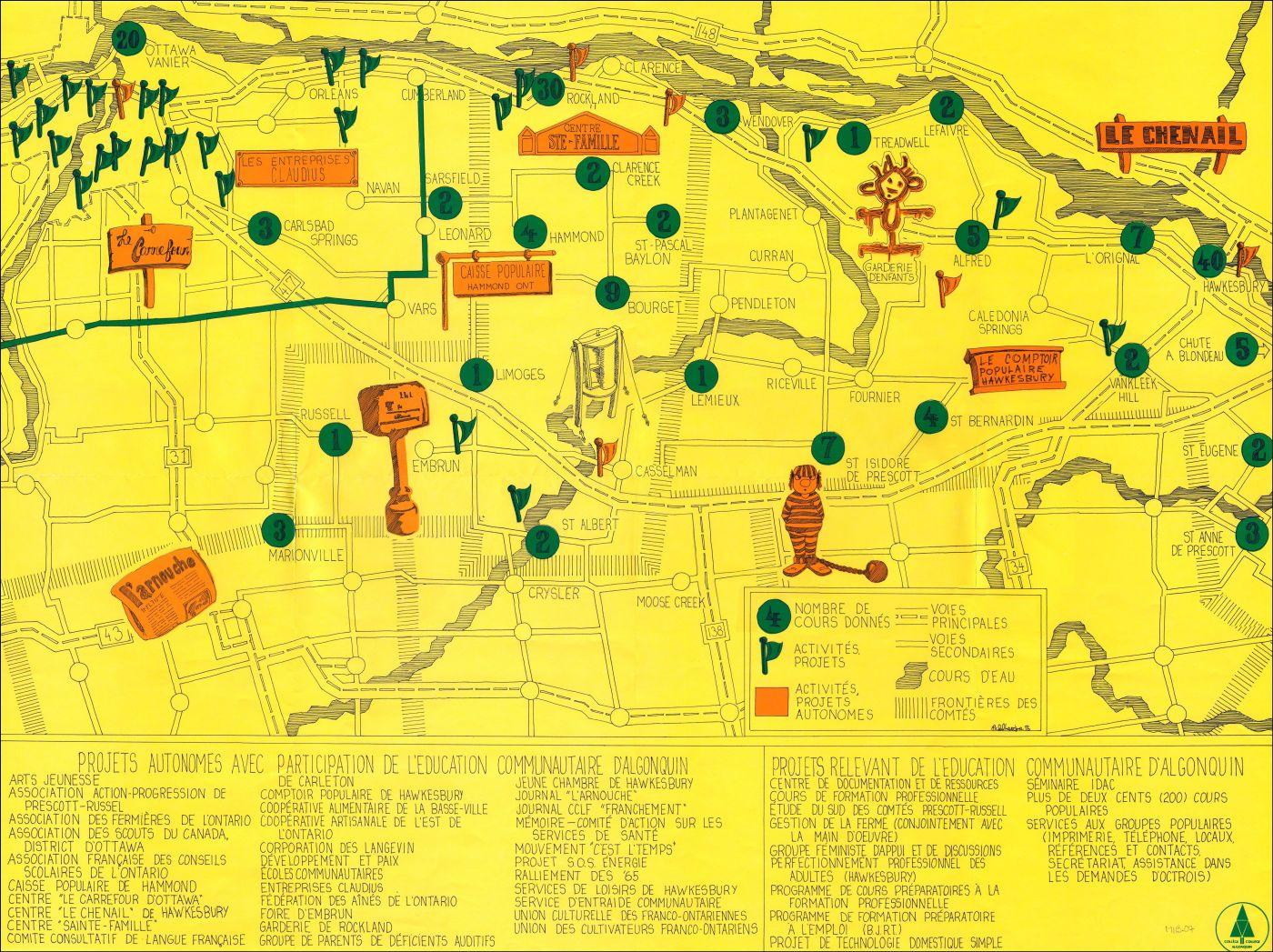 Une carte schématique, en français. En traits noirs fins, sur fond jaune, le réseau routier et les principales localités de l'Est ontarien.  Ottawa figure en haut (au nord) à gauche (à l'ouest). Un ensemble de symboles colorés marquent les lieux d'intervention de « l'éducation communautaire d'Algonquin ». Une liste détaillée des projets apparaît au bas de la carte.