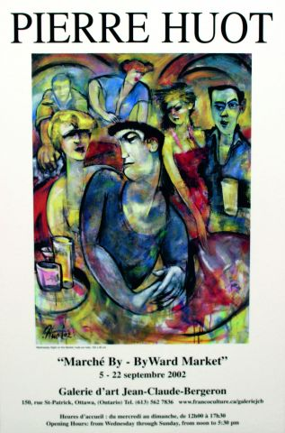 Affiche en couleur, avec texte imprimé en français, composée d'une reproduction, sur fond blanc, d'un tableau abstrait représentant trois hommes et trois femmes dans un bar dansant. Le nom de l'artiste figure en gros caractères en haut de l'affiche.  L'annonce de l'exposition figure sous le tableau.