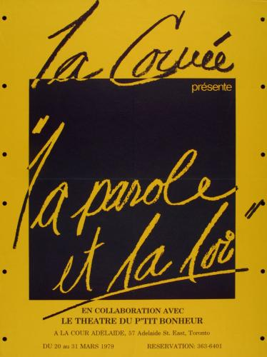 French poster. On a mustard yellow background, a black square with the name of the theatre troupe and the title of the play, in cursive writing in either black or mustard yellow, depending on the background colour. Details of the event are printed at the bottom of the poster.
