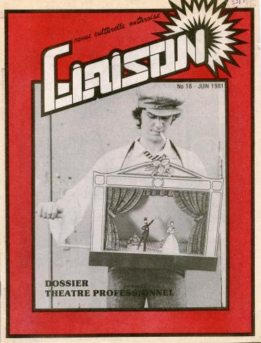 Cover of a document printed in French. A black and white photograph in the centre of the page shows a middle-aged man wearing a miniature hand-cranked theatre around his neck. On a red background, the title of the magazine is written in large letters, which flow into a stylized sun.