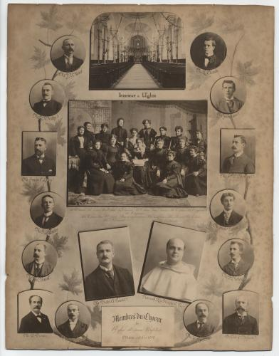 """Photograph of a display board showing an arrangement of fourteen studio photographs of men whose names appear under the round or square frame surrounding each image. In the middle of the board, photographs of a church interior, a group of about fifteen women seated or standing in three rows, as well as a man and a monk. The caption at the bottom reads: """"Members of the Saint-Jean-Baptiste Church choir, Ottawa, October 1898""""(translated from the original)."""