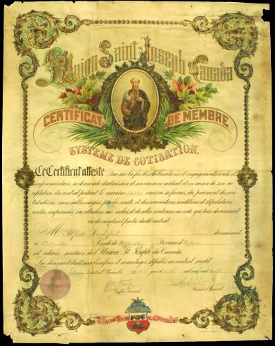 French document printed in colour. The colour drawing of St. Joseph in the centre is surrounded by the stylized name of the organisation. The text, interspersed with handwritten entries, appears in a stylish, popular typeface. The certificate is signed by the general clerk and the general president of the Society. The organization's coat of arms is integrated into the certificate border at the bottom of the page.