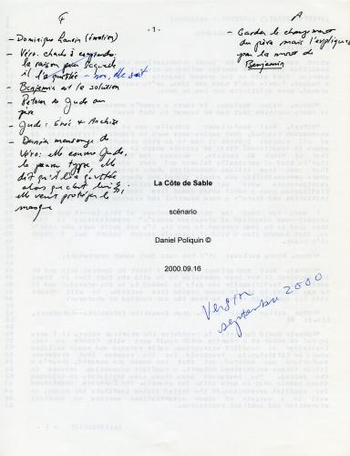 """Cover page of a document typewritten in French. The title is positioned in the middle of the page, followed by the word """"scénario"""" as well as the name of the author and the date. Annotations are made by hand, in black ink. Written in blue, """"Version September 2000."""""""
